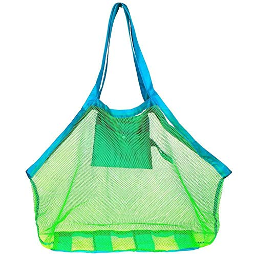 Rpaio Organizer Outdoor Toy Portable Mesh Bag Kids Beach Toys Clothes Towel Package, Big String Bag Shell Sand Digging Tool Kit, Baby Toy Storage Package