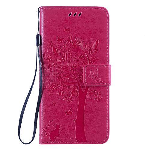 Miagon für Huawei Nova 5T Geldbörse Wallet Case,PU Leder Baum Katze Schmetterling Flip Cover Klapphülle Tasche Schutzhülle mit Magnet Handschlaufe Strap