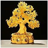 Ornamento de Escritorio Árbol de citrino de la vida (estilo 4) Las piedras preciosas de cristal de oro del árbol Bonsai Cornucopia Feng Shui del árbol del dinero for la curación y la suerte 16.9 pulga