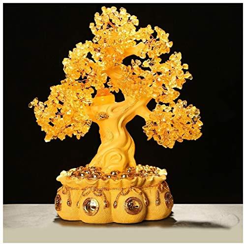 Ornamento de Escritorio Árbol de citrino de la vida (estilo 4) Las piedras preciosas de cristal de oro del árbol Bonsai Cornucopia Feng Shui del árbol del dinero for la curación y la suerte 16.9 p