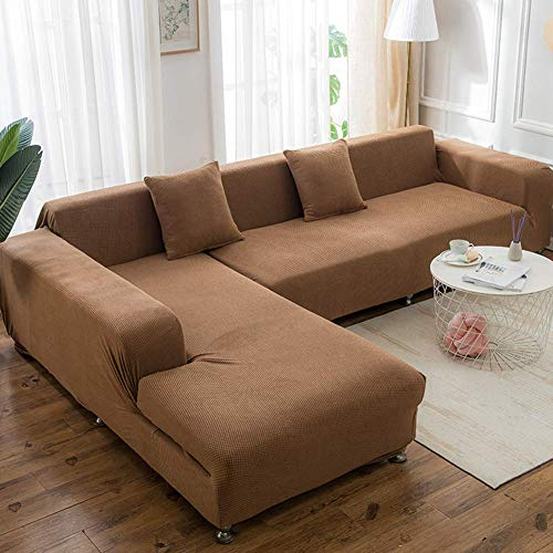 FSYGZJ 1 Pcs Sectional Sofa Cover,Polyester Fit Couch Furniture Protector For Kids Pets,Stretch Couch Cover Slipcovers For L U Shape Sofa Brown 3-seat/190-230cm