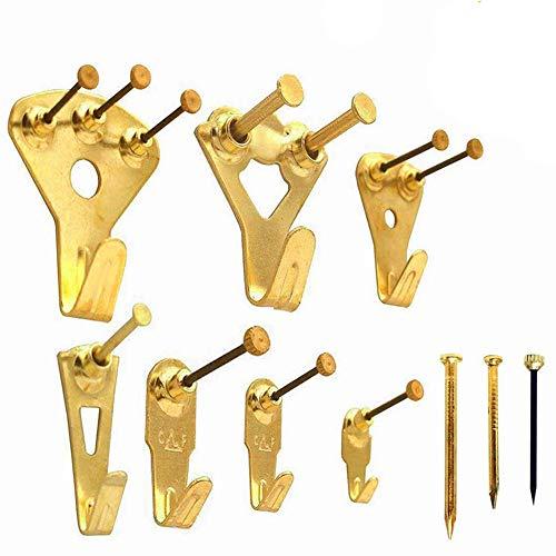Bildaufhänger EAHOME【133 Stück】Bild Kleiderbügel Schwerlast Vielseitiges Bilderrahmen-Minikit Kunstwerk Uhr Haken mit Nägeln für Wand und Holz, Unterstützung 10-100 lbs, Golden
