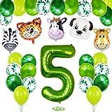 Anniversaire Animaux 5, Ballon Anniversaire 5 an, Jungle Animaux Décorations Anniversaire 5, 5er Anniversaire Garcon Ballon, Ballon Chiffre 5 Vert, Ballon 5 Ans Garcon, Ballon Numéro 5