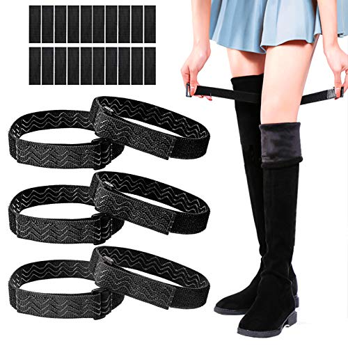 6 Pieces Knee Boots Straps Adjustable Elastic Boots Straps with 20 Pieces Hook and Loop Tape for Knee-high Boots, Keep Boots Not Fall Off