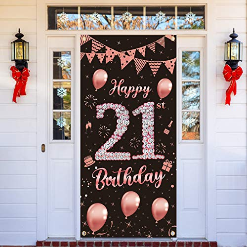 Lnlofen 21st Birthday Party Banner Decorations for Women, Large 21st Birthday Party Door Cover Backdrop Supplies, Rose Gold Happy 21 Year Old Birthday Poster Sign Decor