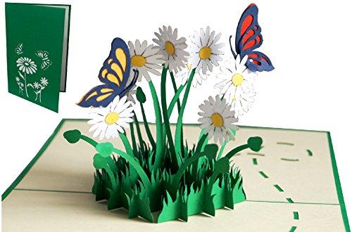LIN 17554, POP - UP Karten, POP UP Karten Geburtstag, Pop Up Karte Blume, Pop Up Geburtstagskarte, 3D Grußkarten Klappkarte viel Glück Gute Besserung, Schmetterlinge, Margeriten, N310