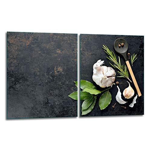 QTA | Juego de 2 cubiertas para vitrocerámica de 40 x 52 cm, protección contra salpicaduras, placa de cristal, cubierta de vitrocerámica, tabla de cortar, especias