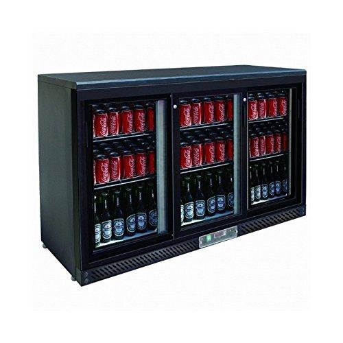 Arrière bar réfrigéré noir avec portes vitrées coulissantes - 3 portes