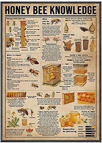 QJIAHQ Póster vintage de la miel del conocimiento de la abeja amante de la colección Póster de la pared del arte de la lona de la pintura del diagrama de decoración de regalo-50 x 70 cm sin marco
