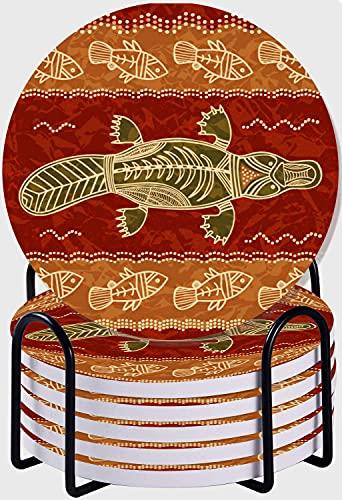 CIKYOWAY Posavasos para Bebidas,El ornitorrinco y el pez un patrón Tribal en un Estilo aborigen Australiano Juego de 6 Posavasos absorbentes con Soporte de Metal/Fondo de Corcho 4 Inches