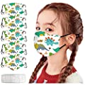 Hotkey 5pcs Kids Reusable Face_Masks with 10pcs Filters Cute Cartoon Dinosaur Print Face Cotton Covering for Childrens Outdoor Back to School