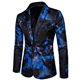 Mens Suit Jacket Slim Fit Printed One Button Floral Casual Blazer Sports Coat (Medium/38R, Blue 01)