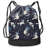 Cosmic Cat Astronauts Espacio flotante Mochila con cordones Mochila para correr Mochila de gran capacidad Bolsa de viaje, Almacenamiento para viajes en el hogar Regalo para hombres y mujeres, Chi