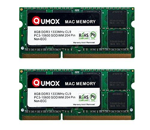 QUMOX PC3-10600 16GB (2x 8GB) 204-Pin 1333MHz SODIMM Memoria Laptop para computadora escritorio Apple Mac
