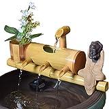 Garten Brunnen Outdoor, Holzbrunnen Bambusbrunnen Dekor, Bambus Wasserspiel Wasserspeier Mit Pumpe, Außenbrunnen Gartenbrunnen Japanisches Garten Feature,50cm
