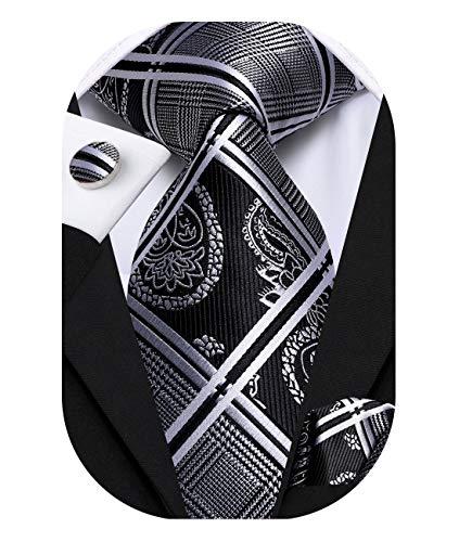 Hi-Tie Mens Black and Silver Plaid Necktie with Handkerchief Cufflinks Set