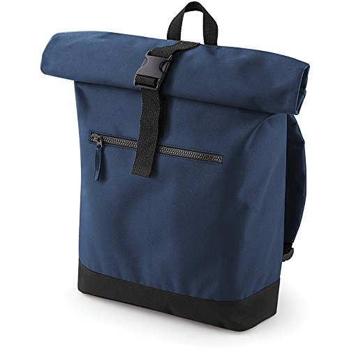 Bagbase Unisex Roll Top Backpack / Rucksack Navy