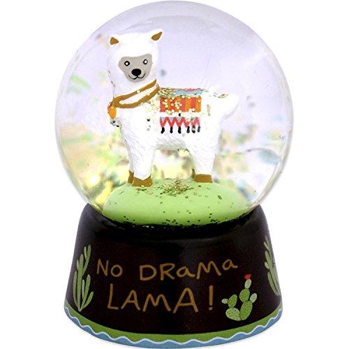Die Geschenkwelt Motiv, Sockel mit Kaktus und Spruch No Drama Lama Schneekugel, Polyresin/Glas, Mehrfarbig, Höhe 6 cm