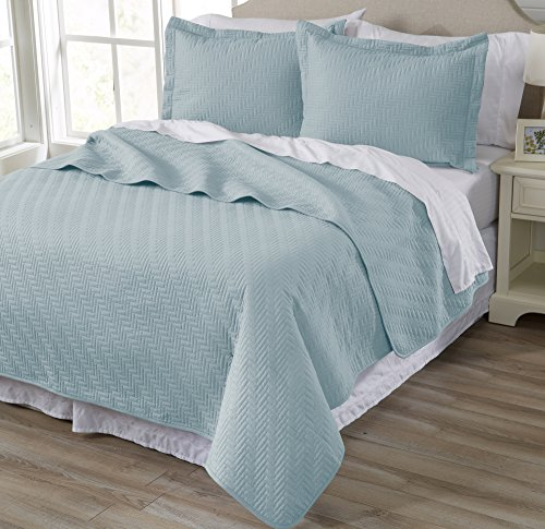 Home Fashion Designs 3-Piece All Season Quilt Set. King Size Quilt with 2 Shams. Soft Microfiber Bedspread and Coverlet. Emerson Collection (Cloud Blue)