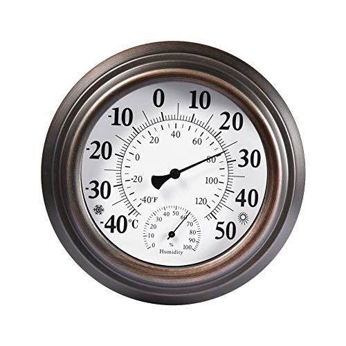 Thermometer Hygrometer Wand Zeigerthermometer Raumthermometer Antike Bemalte Eisenhülle Innen Außen Hochpräzise Für Haussauna Gemüseterrasse,Metallisch