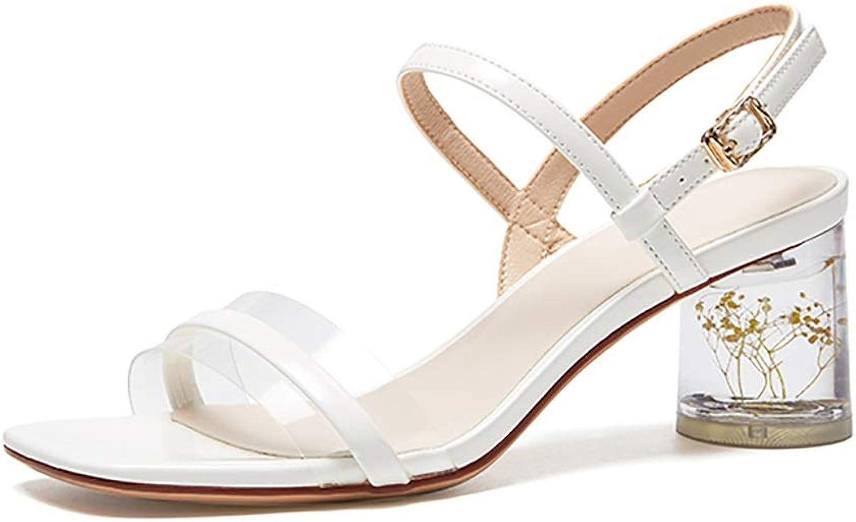 Sandaler Sandaler Sandaler sommar Crystal Heel Sweet Cute High klackar, gul vit lila 6.5cm (färg  vit, Storlek  37)  professionellt integrerat online köpcentrum