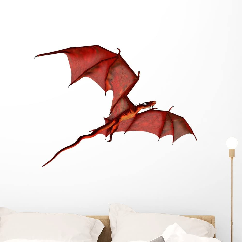 Wallmonkeys Flying Red Dragon Wall Decal Peel and Stick Trust Cheap super special price Graphic