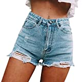 Sexyshine Women's Sexy High Waist Casual Cut Off Ripped Jeans Denim Hot Shorts (LB, S)