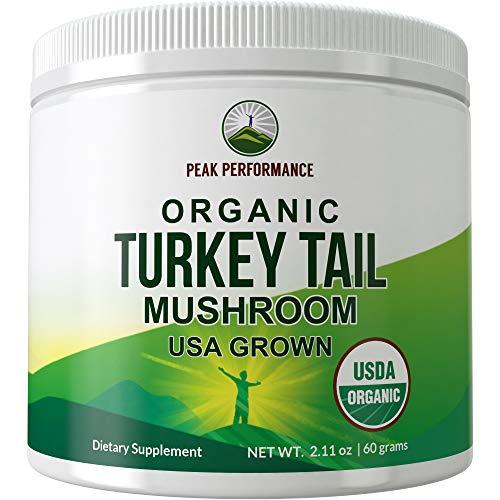 USDA Organic Turkey Tail Mushroom Powder (USA Grown) by Peak Performance. Vegan Mushrooms Blend Extract Powders. Polyphenols, Adaptogenic, Antioxidant, Beta Glucan Supplement. Naturally Harvested