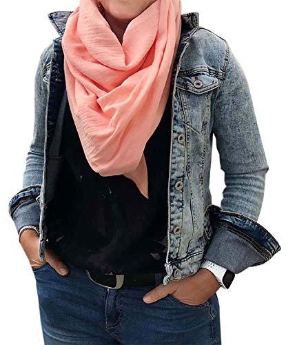 Turnanzug-GymStern XXL Musselin Schal Damenhalstuch aus 100% feiner Baumwolle Tuch Farbwahl Farbe Lachs