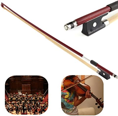 Carbon Fiber 1//4 Violin Bow Ebony Frog Brown-red