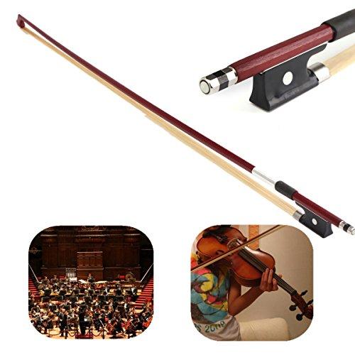 Professional 4/4 Brazilwood Ebony Frog Violin Arbor White Horsehair Violin Bow (4/4 Brazilwood)