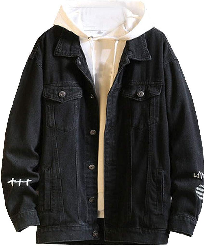 Men's Jean Coat Long Sleeve Lapel Collar Loose Fit Denim Vintage Zipper Jacket for Autumn Winter