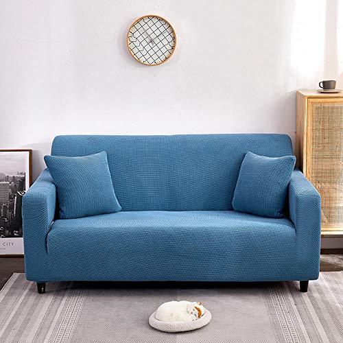 Fsogasilttlv Moderna Elastica Funda de Sofa,Funda de sofá elástica de Color sólido para Sala de Estar, Antideslizante, Funda elástica para sillón de sofá, Azul, 3 1 plazas, 90-140 cm (1 Pieza)
