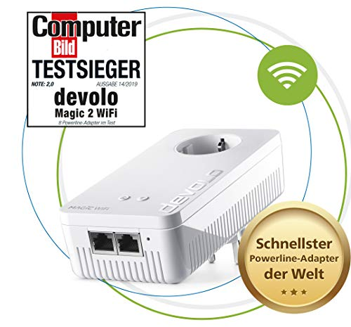 Devolo Magic 2 Wifi: Fantastische Powerline Adapter Met Draadloze Functie, Tot 2400 Mbit/S Wifi Ac, 2X Gigabit Lan-Aansluiting, Geïntegreerde Stopcontact, Mesh Wifi, Access Point, Wit