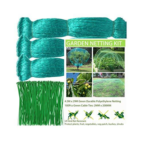 GEMDRUZY Green Bird Netting for Garden 14.6ft*95.1ft, Garden Netting for Plants Lawn Fruit Vegetables Veg Patch Grass Seed,Plant Netting Bird Protection