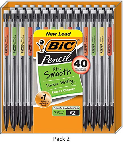 BIC Xtra-Smooth Mechanical Pencil, Medium Point (0.7 mm), 40-Count, 2 Pack
