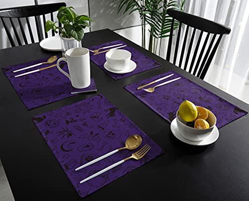 Hommou, set di 4 tovagliette per tavolo da pranzo, isolanti, antiscivolo, per serate di film spaventosi, Halloween, scheletro di zucca, gatto nero, candela su tovagliette viola in cotone e lino