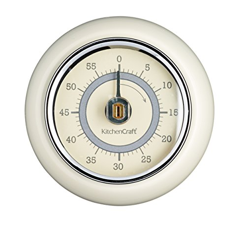 Kitchen Craft - Timer Meccanico, Motivo Vintage, 1h, Colore: Crema Antica