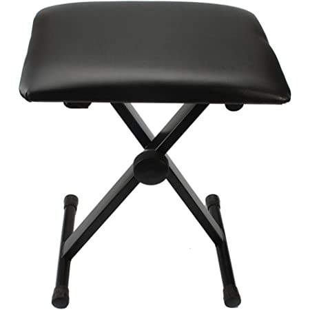 Adjustable Foldable Piano Bench X-Style Padded Stool Chair Seat Cushion With Anti-Slip Rubber Feet Perfect for Kids Adult Instrumental Performance and Practice