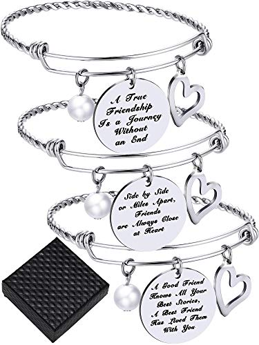 3 Pieces Friendship Bangle Bracelets Adjustable Inspirational Friend Bracelet Stainless Steel Jewelry for Valentine's Day Women Gifts