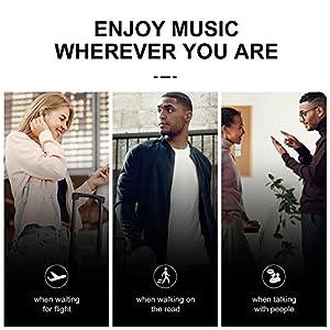 Wireless Earbuds, Aufo Bluetooth Headphones Bluetooth 5.0 Lightweight Earphones in-Ear HiFi Stereo, Touch Control, IPX7 Waterproof, One-Step Pairing, Built-in Mic, Black