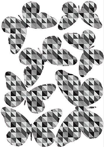 Plage 3D Charming Butterfly Stickers Black White Scandinavian [7 Butterflies Between 8 x 6,5 cm and 14 x 11 cm], Plastik, 14 x 0.1 x 11 cm, 7-Einheiten