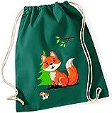 minimutz Bolsos de tela para niños   Motivo: Zorro con bosque y pradera   Bolsa de zapatos   Bolsa de deporte infantil con cordón   Bolsa de gimnasio con cuerda en azul gris verde (verde oscuro)