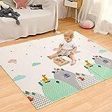 Hadwin Alfombra de juego para bebé, plegable y portátil, reversible, para gatear, para picnic, yoga, ideal para niños y adultos, 180 x 200 x 1 cm