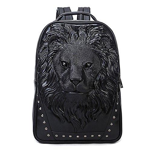 3D Print Animal Studded Backpack, PU Leather Cool Backpack Bookbag (Lion-Black)