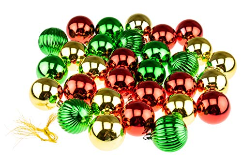 Clever Creations Shatterproof Christmas Tree Ornaments Large 60mm Red, Green, Gold Variety Pack Christmas Décor | 30 Piece Set Perfect for Christmas Decorations