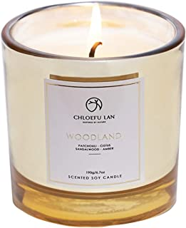 Scented Candle Patchouli & Sandalwood & Musk Soy Wax Long Burning (40 hours) Strong Fragrance Aromatherapy Candles for Home Decorative, Stress Relief and Best Gifts with Golden Glass (Woodland)