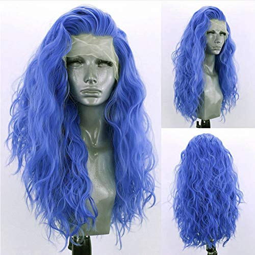 RONGDUOYI Loose Wave Blue Lace Front Wigs for Women Girls 13x4 Free Part Pre Plucked Natural Hairline Synthetic Wig Royal Blue Body Wave Cosplay Wigs 24 Inches,150% Density