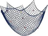 Fangoo 200 cm x 150 cm Red de Pesca con Conchas Playa Decoración temática para Fiesta Hogar Sala de Estar Dormitorio Decoración de Estilo mediterráneo Decoración de Pared (Azul)