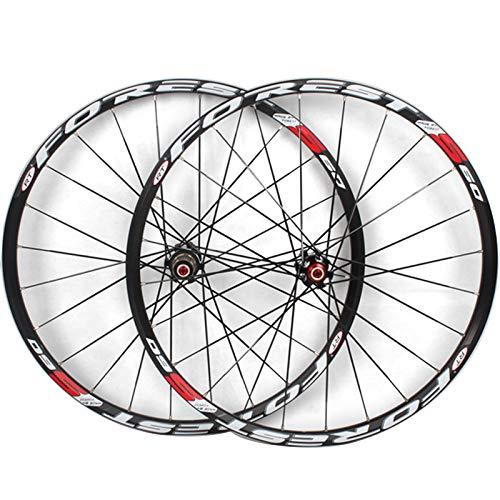 NS Juego Ruedas Bicicleta Montaña 26/27.5 Pulgadas Ruedas Freno Disco QR Doble Capa Llanta Aleación Alta Resistencia Ultraligero 8,9,10 Volante Cassette (Color : Silver hub Silve Logo, Size : 26inch)